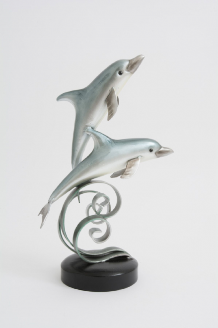 Large Metallic Shimmery Blue Effect Jumping Dolphins Sculpture